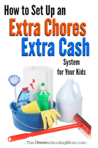 Looking for an organized way to pay your kids for the extra chores they do around the house? Here's how to set up an extra chore, extra cash system for your kids. - The Hmmmschooling Mom