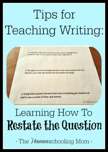 Restating the question when answering - tips on how to teach, and thoughts on the matter.