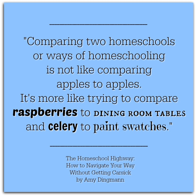 Don't worry about how your homeschool compares to anyone elses - you can't compare two homeschools! Get more encouragment from The Homeschool Highway: How to Navigate Your Way Without Getting Carsick by Amy Dingmann, The Hmmmschooling Mom