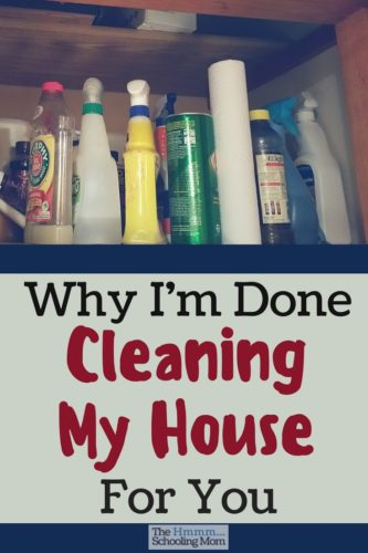 "Wherein I make an argument *against* going on a cleaning spree when you're expecting mom friends to visit. Find freedom in being ""done cleaning""."
