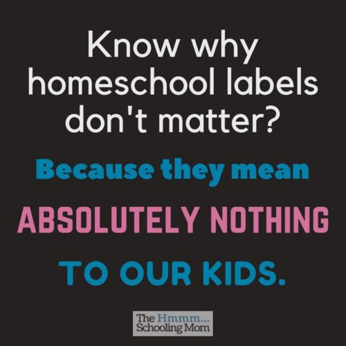 Radical Unschooler. Eclectic. Classical. What kind of homeschooler are you? Here are my thoughts on homeschool labels and why they maybe don't even matter.