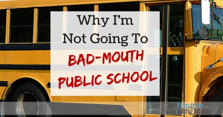 Why I'm Not Going to Bad-mouth Public School