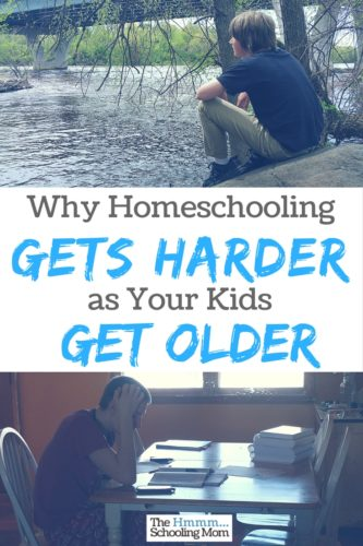 As luck would have it, we've been at this homeschooling gig for awhile. We're now entering the high school years, and while I don't want to change the path we're on, I can definitely admit there are some things that get harder about homeschooling as the kids get older. Here are five of them.