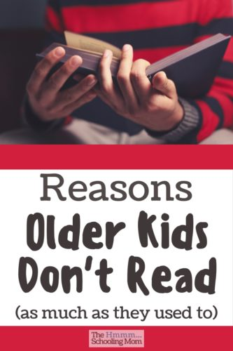 Are your older kids not reading like they used to? Let's talk about some reasons older kids don't read as much, and what you can do about it.